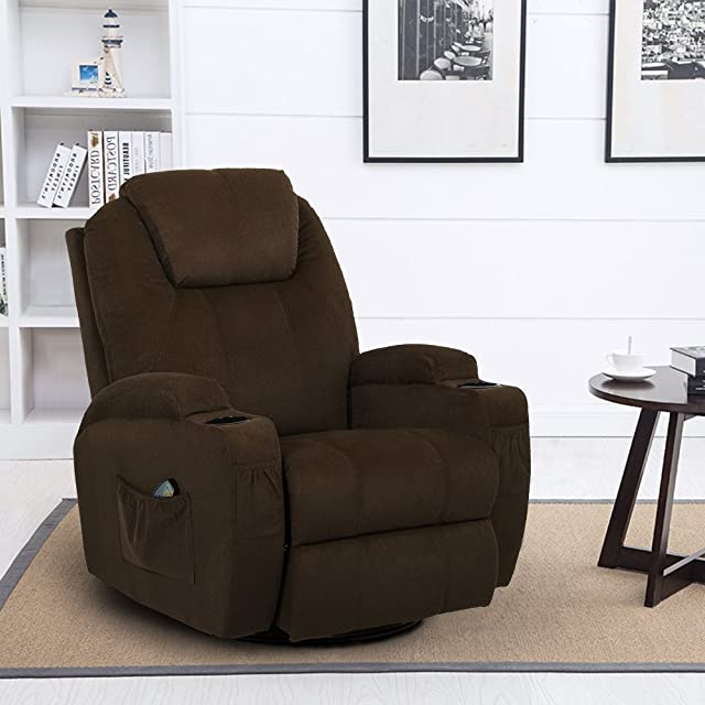 Esright Coffee Fabric Massage Recliner Chair