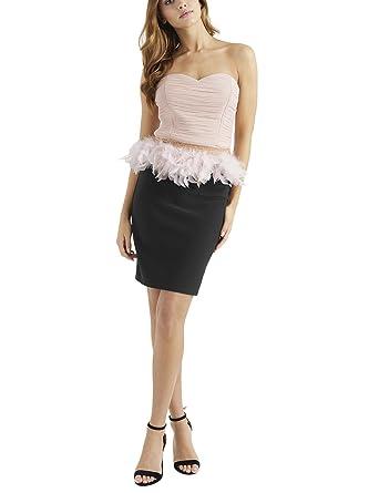 Lipsy Damen Kleid Mit Feder-Schößchen 48 Schwarz: Amazon.de: Bekleidung