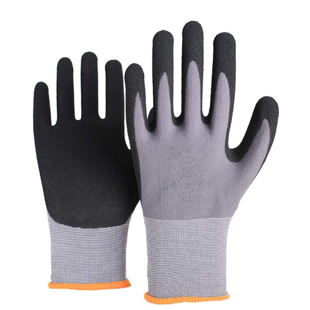 RYYAIYL Industrial Gloves Wear-Resistant Anti-Skid Mechanical Site Glass Protective Gloves with Comfortable Coating Breathable(6 Pairs Per Pack) (Size : L) by RYYAIYL