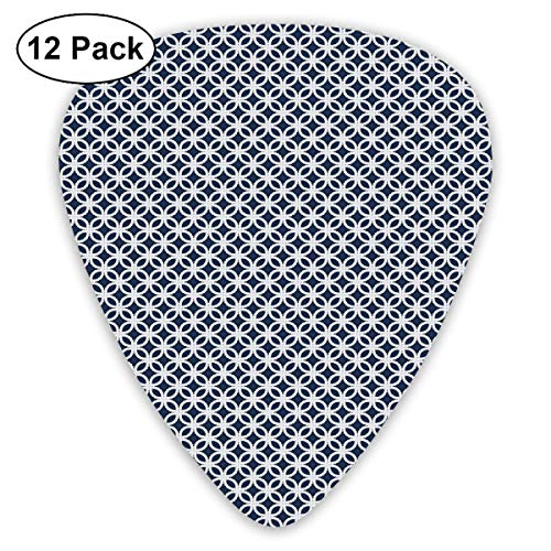 Guitar Picks - Abstract Art Colorful Designs,Marine Rope In Geometric Pattern Design Ocean Travel Cruise Mosaic Ornament,Unique Guitar Gift,For Bass Electric & Acoustic Guitars-12 Pack -