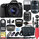Canon EOS 80D CMOS DSLR Camera + 18-55mm IS STM & 55-250mm IS II Lens Kit + Accessory Bundle 64GB SDXC Memory + DSLR Photo Bag + Wide Angle Lens + 2x Telephoto Lens +Flash+Remote+Tripod