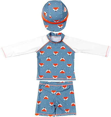 for Kids Baby Boys Two Piece Swimsuits Rash Guard Short Sleeve Cartoon Bathing Suit Swimwear Sets with Hat UPF 50