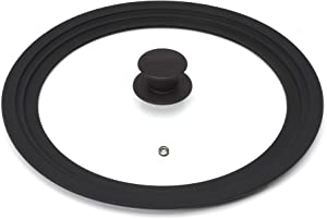 Goodful Universal Lid for Pots, Pans and Skillets, Tempered Glass Steam Vented, Graduated Silicone Rim Fits 9.5