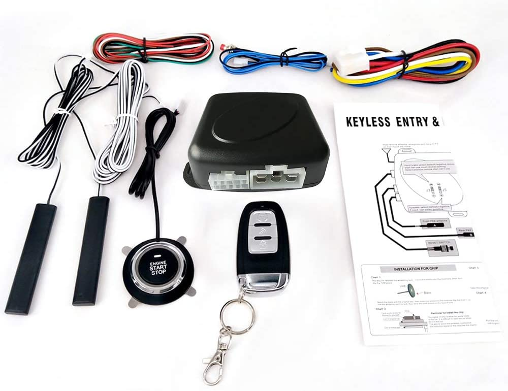 Tickas Keyless Entry System,Car SUV Switch Keyless Entry Engine Start Alarm System with One Remote Controller Push Button Remote Starter Stop Auto Anti-theft System