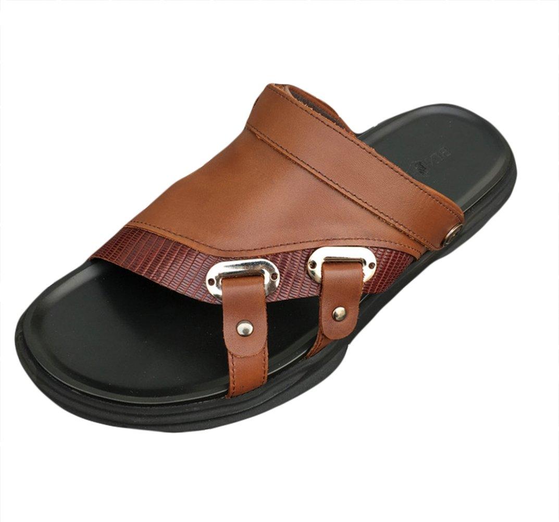 Insun Hombres Sandalias Cuero Casuales Chanclas Playa Zapatos 41 EU|Marrón