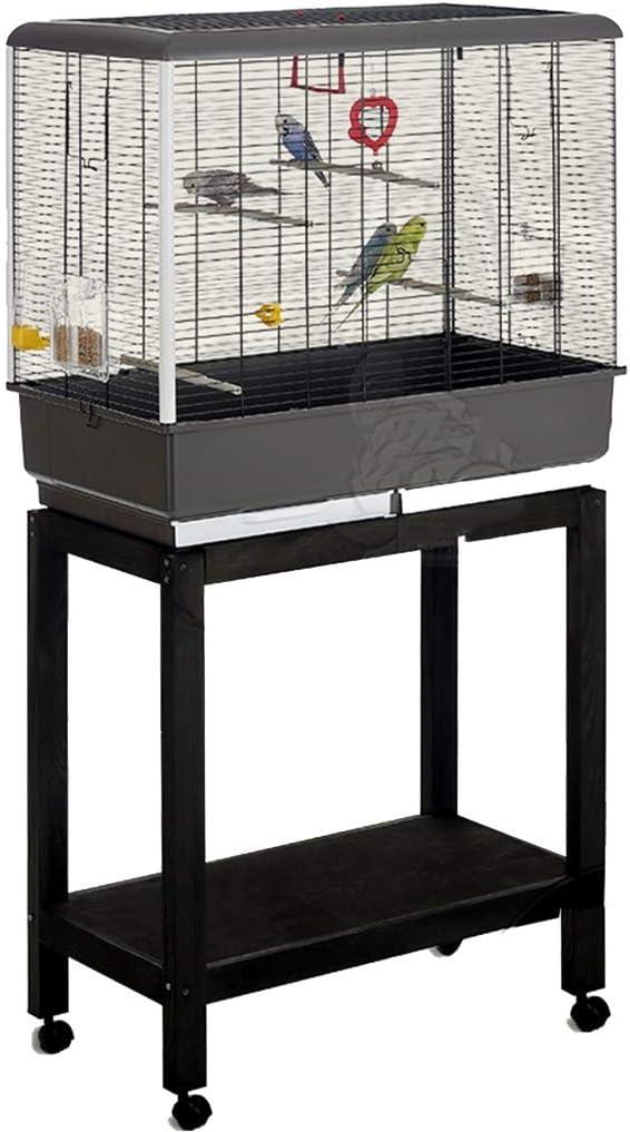 YHRJ Jaula para ninfas Jaula para Ninfas Grande,Jaula De Pájaros De Soporte, Jaula De Guacamayos De Interior, Material De Protección Ambiental, Accesorios Completos (Color : Black b)