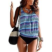 Fulision Bikini de mujer acolchada push up 2 piezas set bañador de playa de moda de impresión