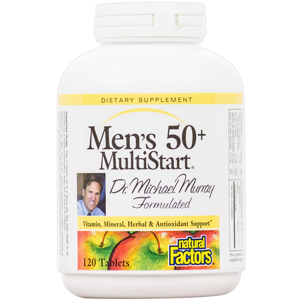Natural Factors - Dr. Murray's MultiStart Men's 50+, Vitamin, Mineral, Herbal & Antioxidant Support, 120 Tablets