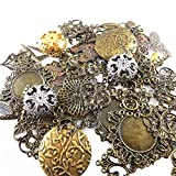 JulieWang Wholesale 100 piece/pack Anchor Charm Mixed Metal Silver Bronze Tone Rudder Fashion Necklace Bracelet Pendants Jewelry Crafts Jewelry Making Findings 4-70 mm