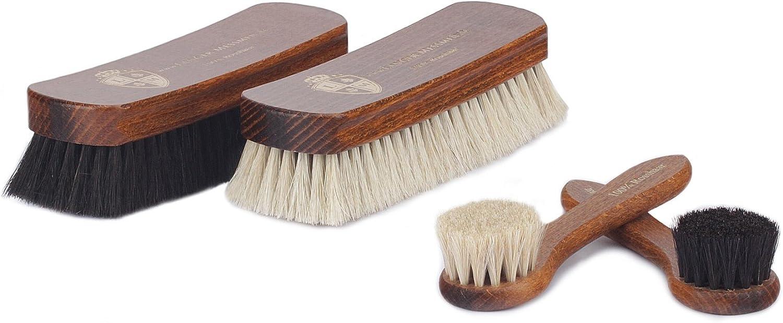 Langer & Messmer Set de 4 cepillos con cerdas de crin de caballo para la limpieza y el cuidado de zapatos de piel de calidad de cuero liso