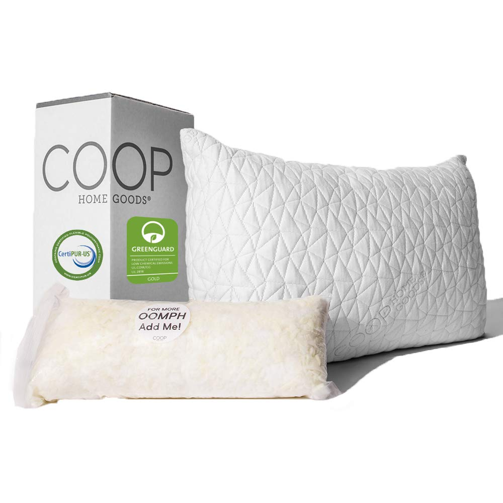 Coop Home Goods - Premium Adjustable Loft Pillow - Hypoallergenic Cross-Cut Memory Foam Fill - Lulltra Washable Cover from Bamboo Derived Rayon - CertiPUR-US/GREENGUARD Gold Certified - Queen by Coop Home Goods
