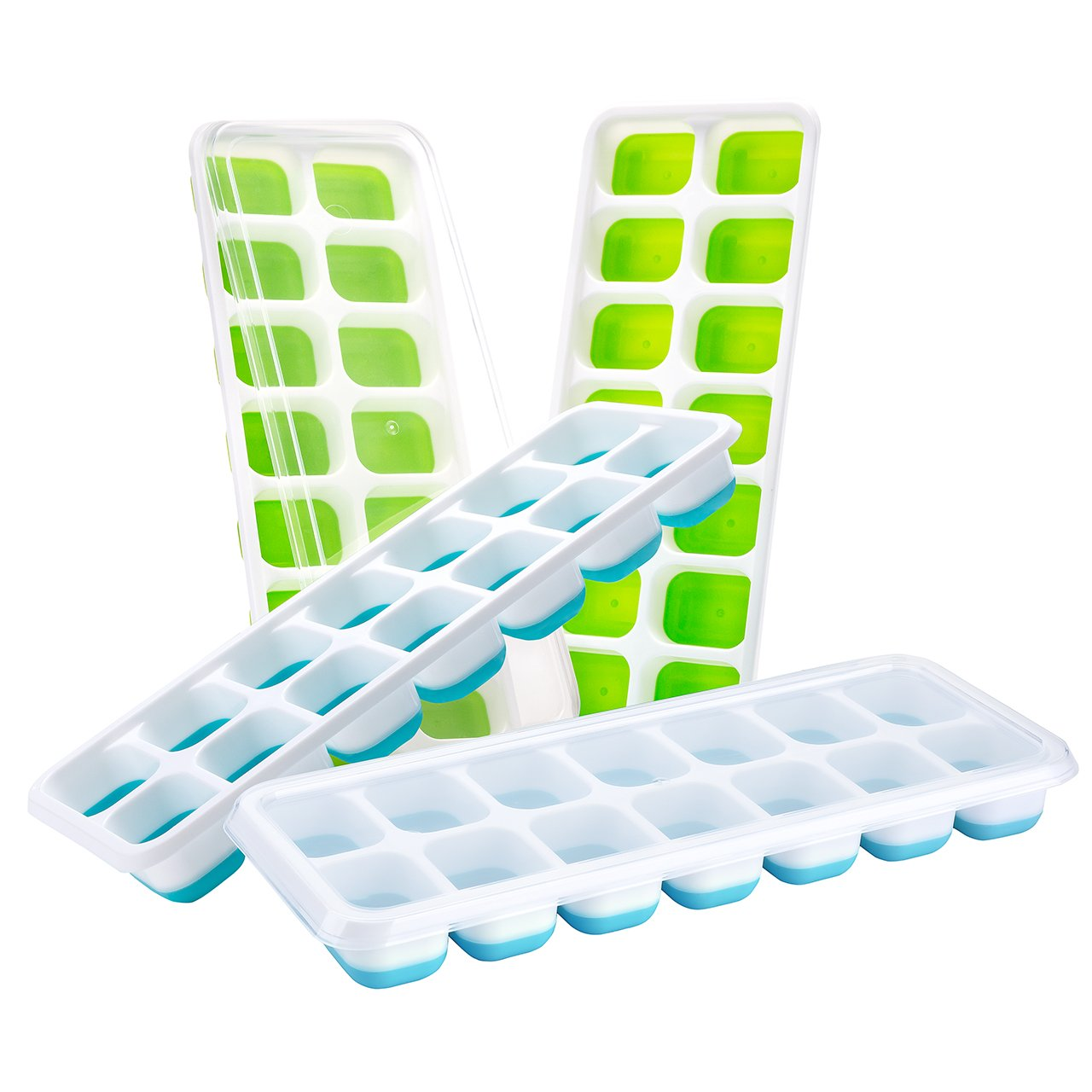 Ice Cube Trays with Lids, TOPELEK Easy Release Silicone Ice Cube Trays with Spill-Resistant Lids, 14-Ice Trays Can Make 56 Ice Cubes, FDA Approved/BPA-free Ice Cube Tray Set for Freezing Baby Food, Cocktails, Whiskey-Dishwasher Safe, (Blue & Green) GEC