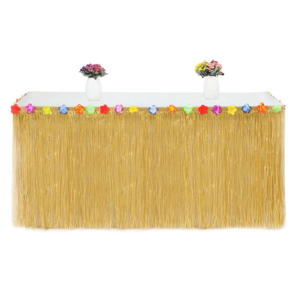Grass Skirt Grass Table Skirt Hawaiian Colorful Faux Flowers Party Skirts Beach Party Accessory(Yellow)