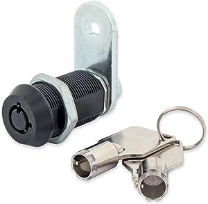 "FJM Security 2400AL-BLK-KD Tubular Cam Lock with 1-1/8"" Cylinder and Black Finish, Keyed Different"