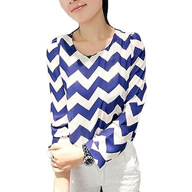 Locomo Frauen Retro Classic blau weiß Zig Zag Muster Print Long Sleeve  Casual Büro Lady Bluse 06a4206bc3