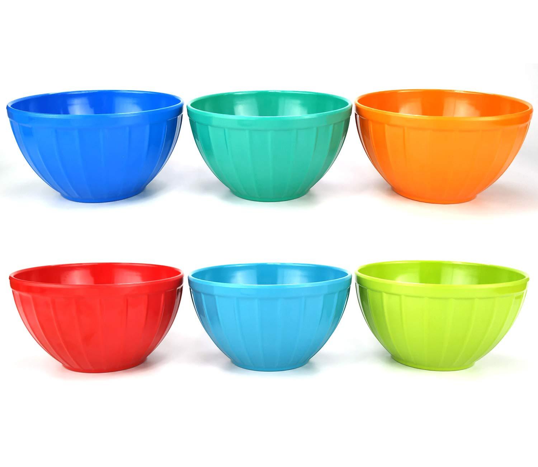 Break-resistant 100/% Melamine Bowls and Plastic Lids Dishwasher Safe,BPA Free Melamine Fluted Bowls Set with Lids-6pcs 17.5 oz Cereal//Soup//Prep Bowls,6 Assorted Color