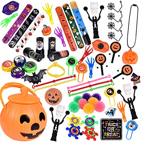 Kid Fun Halloween Treats (60 PCs Halloween Party Favors For Kids, Novelty Bulk Toys Assortment for Halloween Treats and Prizes, Goodie Bag)