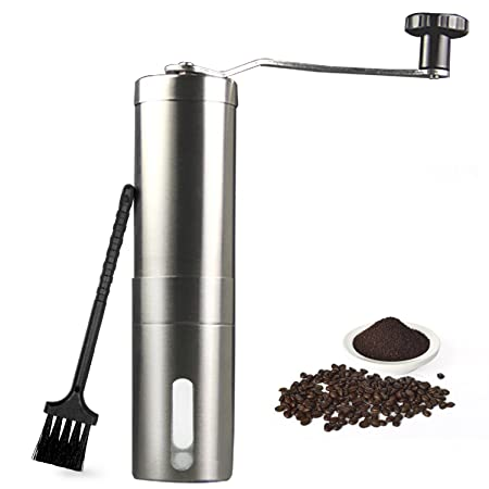 Stainless Steel Hand Manual Coffee Grinder Bean Pepper Spice Burr Mill Tool UK