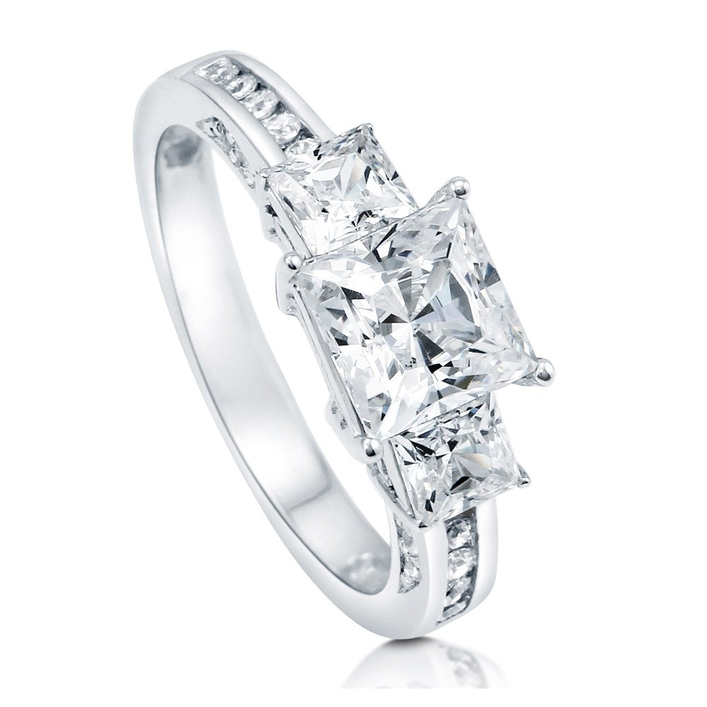BERRICLE Rhodium Plated Sterling Silver Cubic Zirconia CZ 3-Stone Promise Engagement Ring Size 4