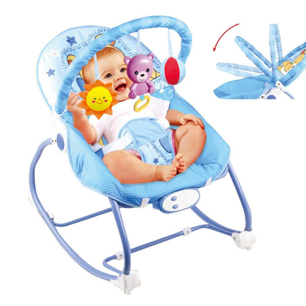 JFMBJS Baby Rocking Chair with Hanging Toys and Musical Melodies Soothing Vibration, Baby Bouncer with Adjustable Seat Belt, for 0-3 Years Old Baby by JFMBJS
