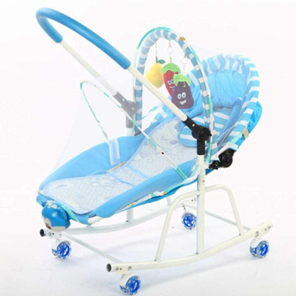 HNSYDS Baby Rocking Chair, Multi-Functional Light Blue Baby Recliner, Music Bird Called Light Vibration Swing Stool, Suitable for 0 to 18 Months Baby Baby Rocking Chair by HNSYDS