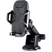 Car Phone Mount, WIKDJ Dashboard Windshield Phone Holder for Car with Dashboard Pad, Strong Stick Suck, One-Touch Design…
