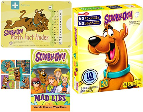 Scooby Snacks 10 Pk Assorted Fruit Flavors + School Math Finder & Scooby-Doo Mystery Mad Libs game + Bonus Stickers