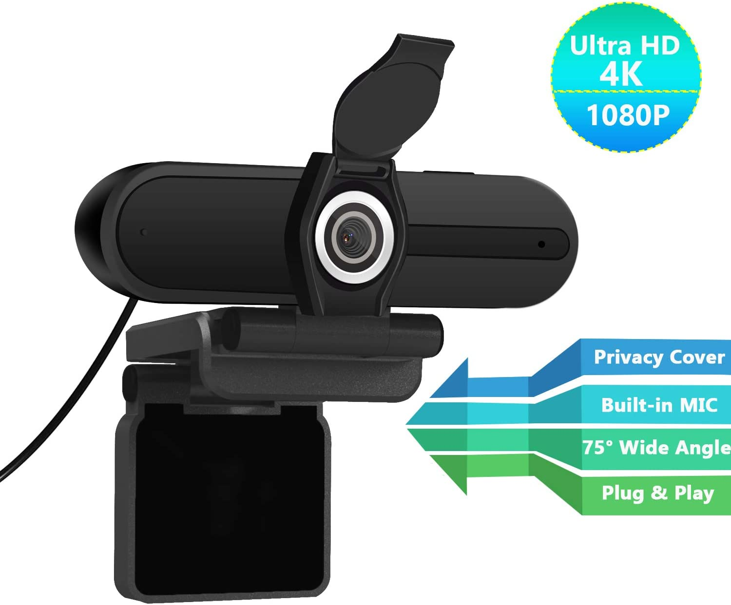 4K Webcam, 8MP Computer PC Web Camera with Privacy Shutter, 75 Degree Wide Angle, 4K Laptop USB Webcam with Microphone for Desktop LCD Monitor/Mac Video Conference/Streaming/Calling/Recording