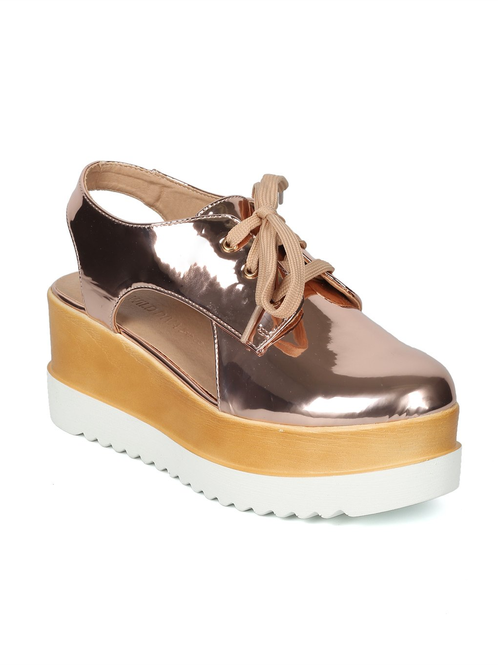 Women Cut Out Platform Double Stacked Creeper Slingback Oxford HH70 - Rose Gold Metallic (Size: 7.0)