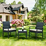 Tangkula 3 PCS Outdoor Rattan Patio Furniture Set Backyard Garden Furniture Seat Cushioned