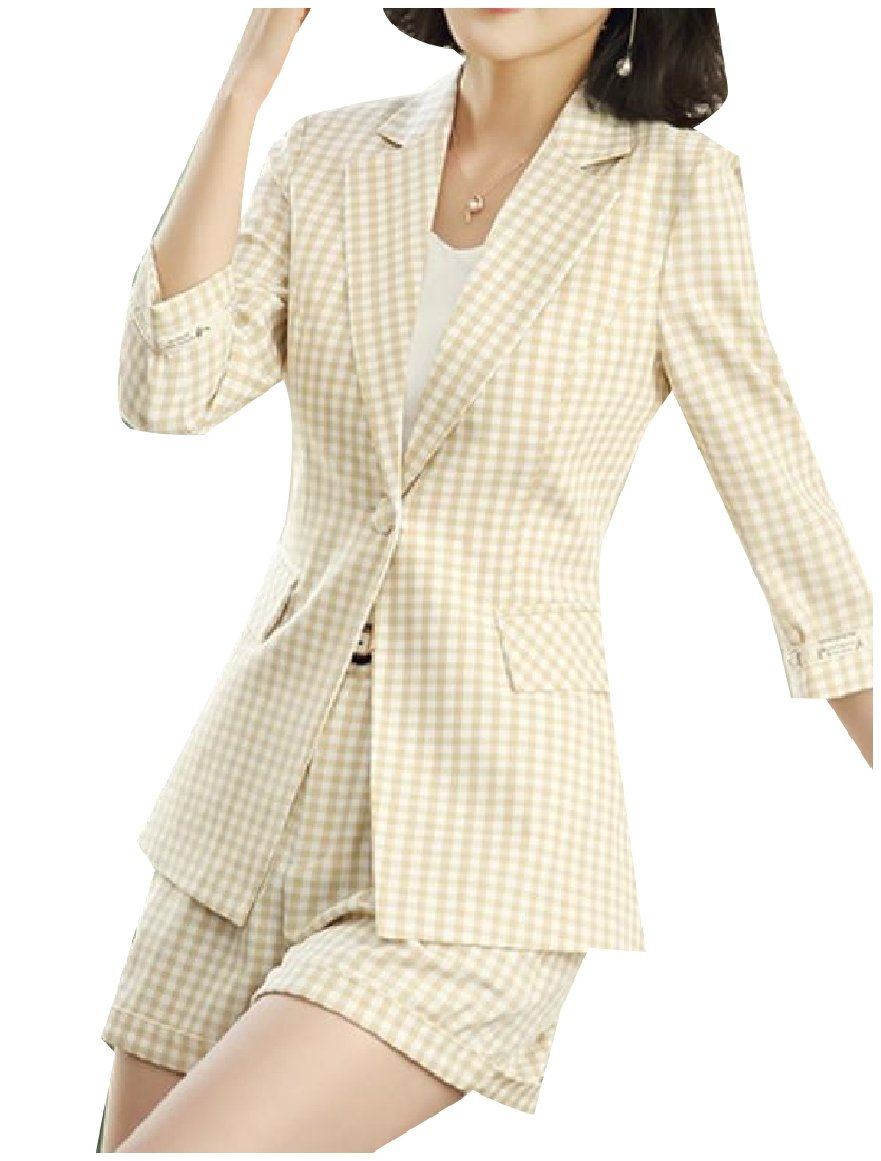 Abetteric Women Trim-Fit Pinstripe Notch Lapel Blazer Jacket Shorts Pants Beige XL