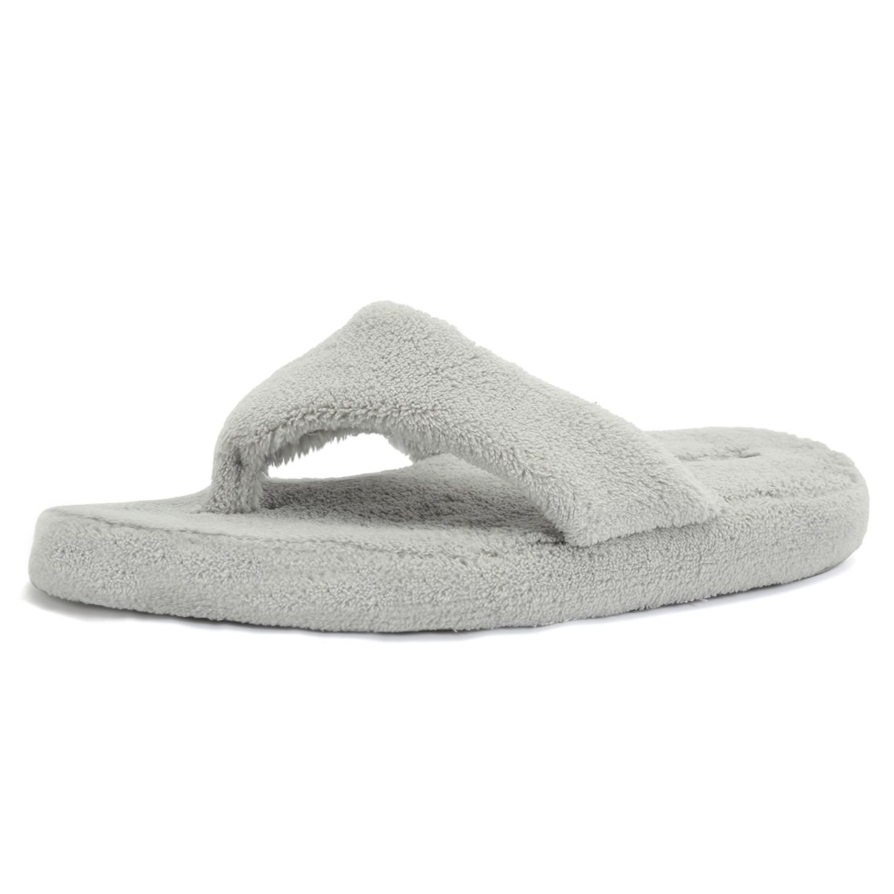 CIOR Fantiny Women's Spa Thong Slippers Flip Flops Terry House Shoes Indoor & Outdoor-U118WMT003-lightgray-38.39