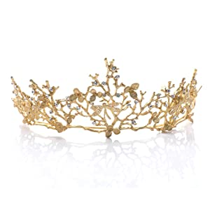 Aukmla Vintage Crown Baroque Gold Tiara Wedding Bridal Hair Accessories Dragonfly Headband for Women and Girls crown-71
