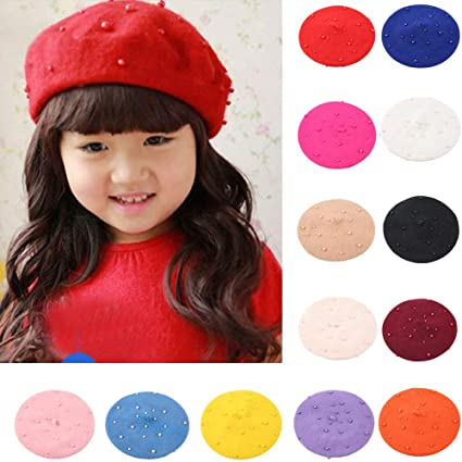 Gbell Baby Toddler Pearly Beret Winter Hats Pom Pom Soft Warm Hat Caps for Toddler Boys Girls Kids