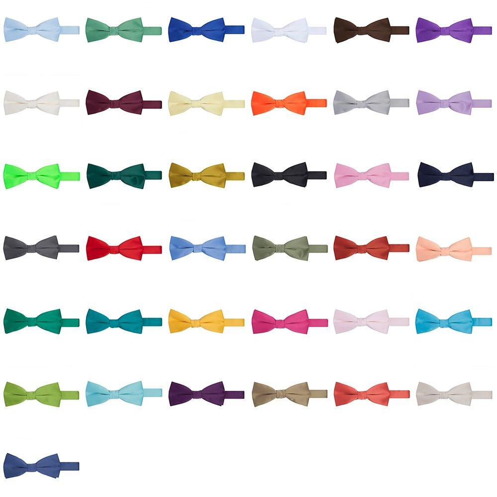 Jacob Alexander Men's Pretied Banded Adjustable Solid Color Bowtie - Peach JPSBT028