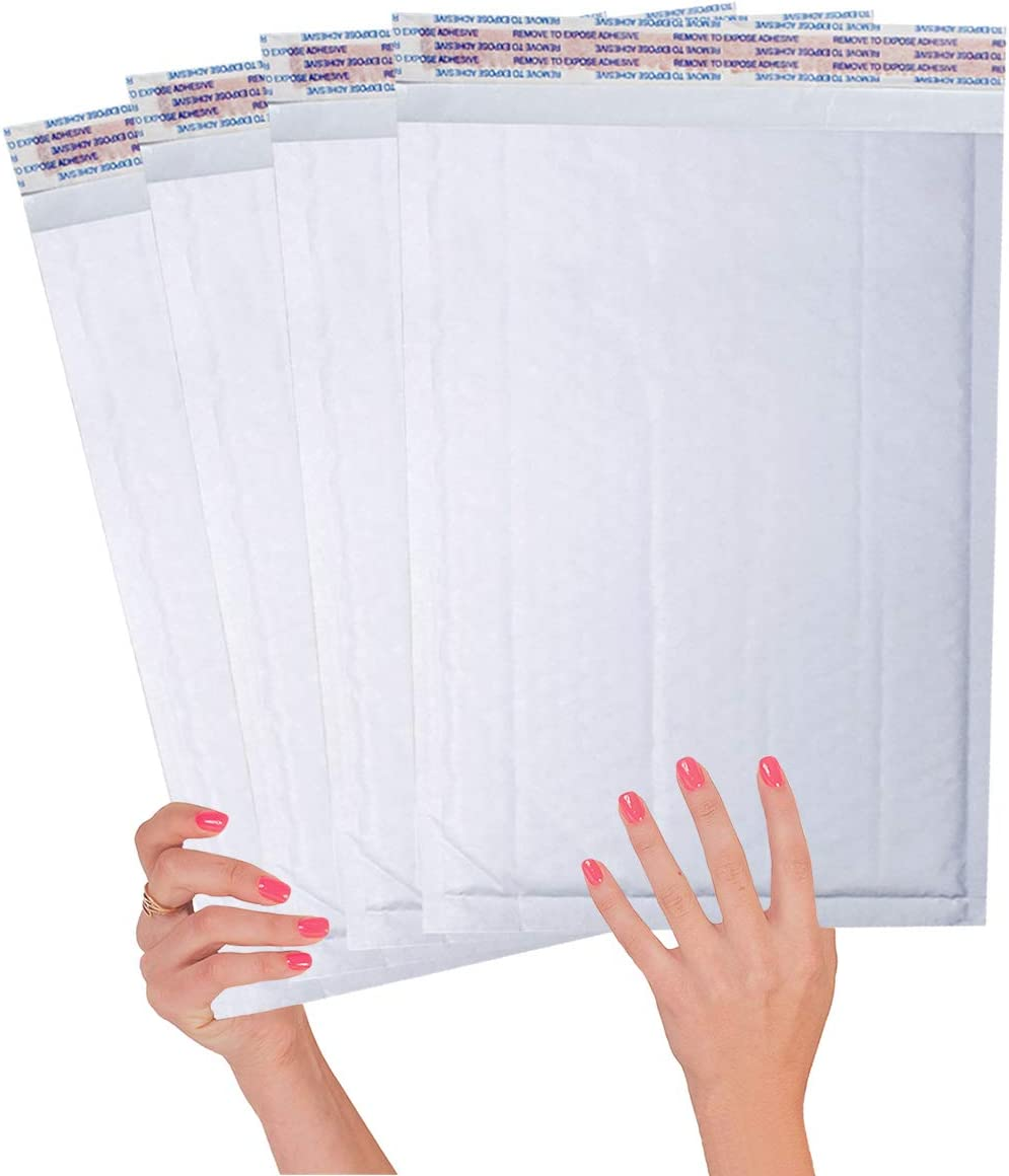 25 Pack White Kraft Padded envelopes 10.5 x 15 Bubble Mailers 10.5x15 Peal and Seal. Cushion envelopes. Shipping, mailing, Packaging. Laminated Kraft Paper in Bulk. Wholesale Price, Bulk Pieces.
