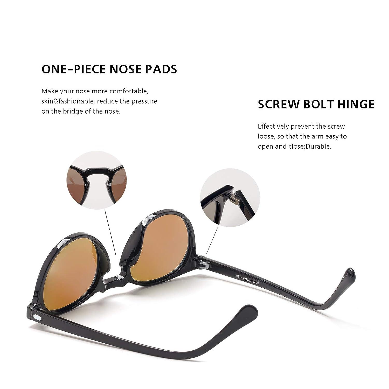 Amazon.com: Gafas de sol clásicas polarizadas redondas con ...