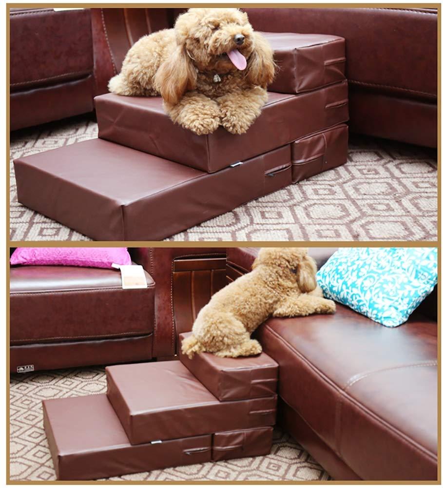 Escaleras BSNOWF Perro alisan el Cuero de la PU Plegable Amortiguador del Paso de la Mascota El sofá casero Interior de la Cama del sofá 69 × 40 × 30cm: ...