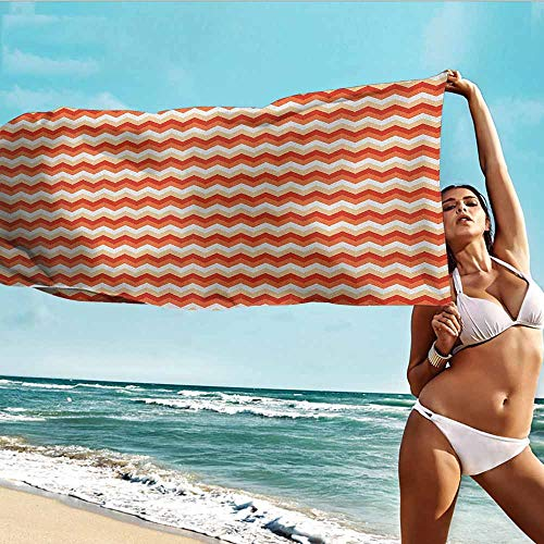 Personalized Microfiber Beach Towel for Kids Coral,Horizontal Chevron Pattern Arrows Geometric Design Striped Old Fashion Zigzag,Orange Coral White,suitable For Home,Travel,Swimming Use 28