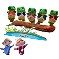 Un ncie Finger Puppet Toy 7 Pcs Story Telling Sack Bag Finger Puppets Nursery Rhyme Fairy Tale Aussie Toys Children Gift Present (Five Little Speckled Frogs)