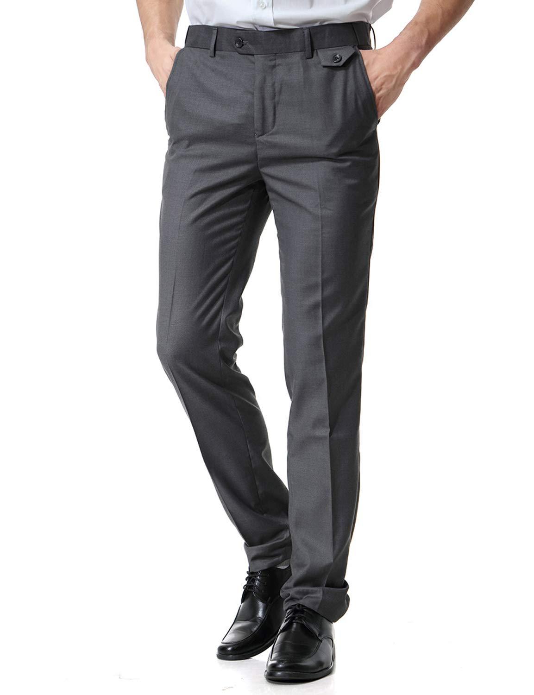 ZEROYAA Mens Hipster Casual Slim Fit Flat Front Dress Pants/Suit PantsZ59-Dark Gray 36W 33L by ZEROYAA