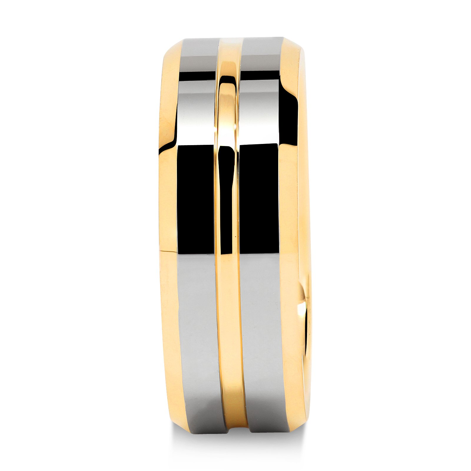 Tungsten Rings for Mens Wedding Bands Gold Silver Two Tone Grooved Center Line Size 8-15 (13) by 100S JEWELRY (Image #3)