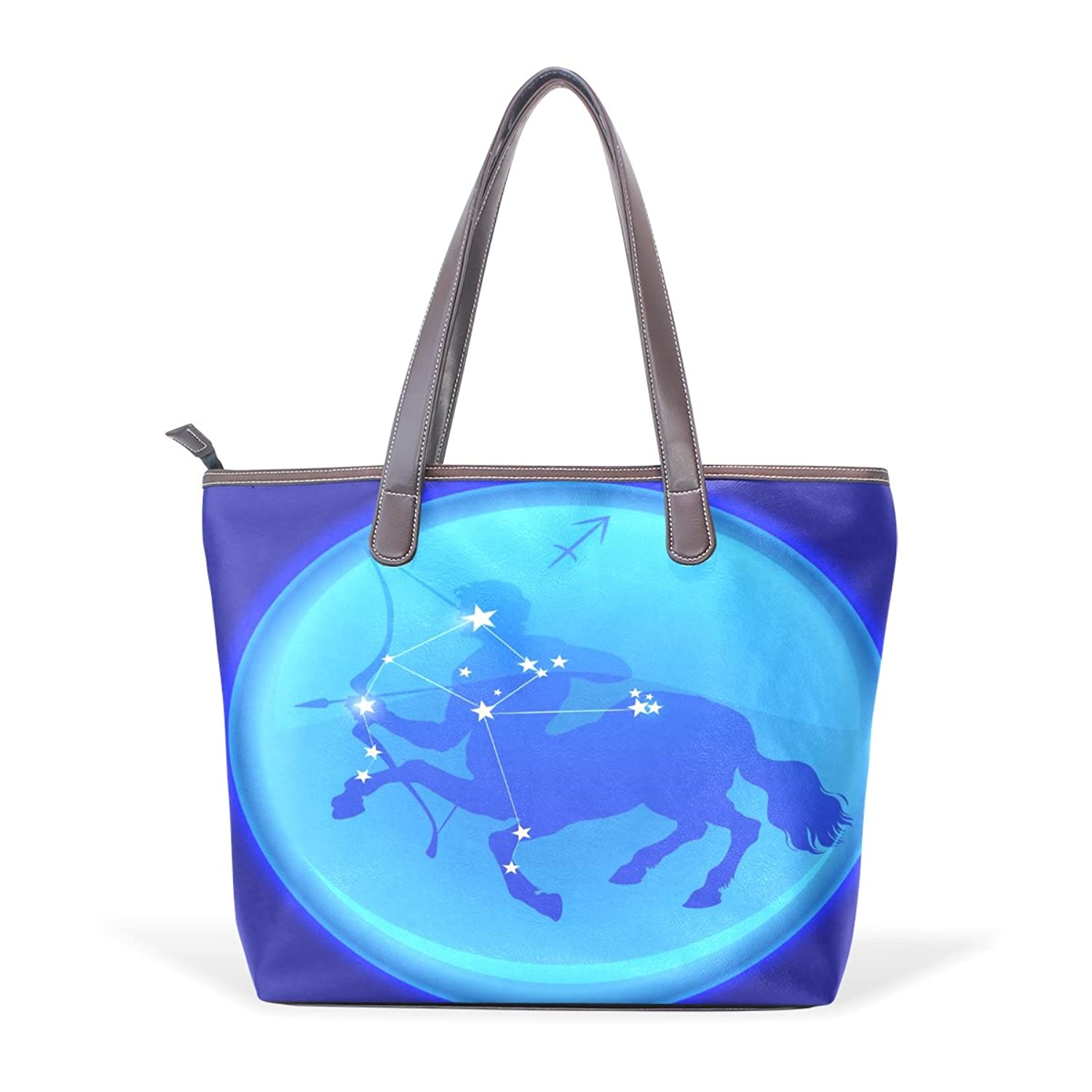 Womens Leather Tote Bag,Fantasy 12 Constellation Sagittarius,Large Handbag