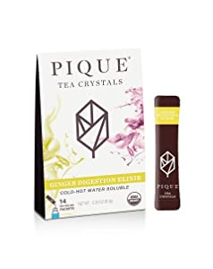 Pique Tea Organic Ginger Digestion Elixir - Gut Health, Fasting, Calm - 1 Pack (14 Sticks)