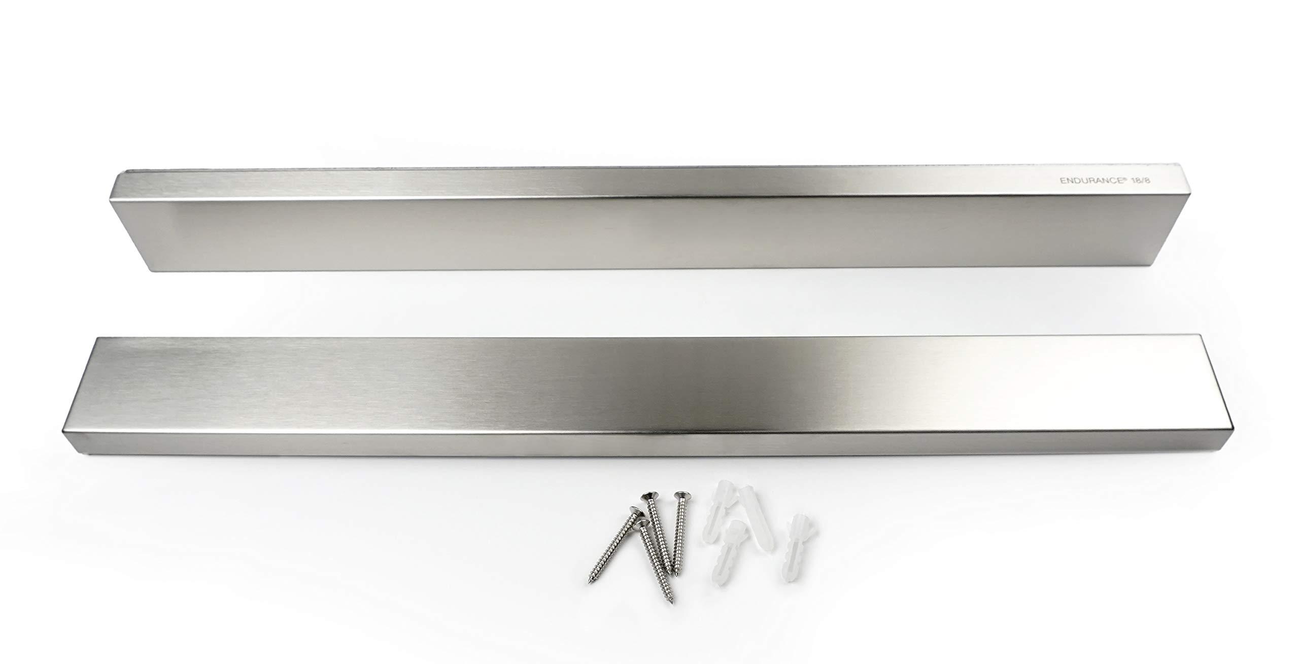 RSVP Endurance 18/8 Stainless Steel Deluxe Magnetic Knife Bars, Set of 2, 18-inch