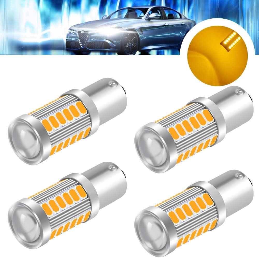 Feu de Position Clignotant 5730 33SMD 12-30V 3.6W Ampoule Led Voiture Super Lumineuses LED -Revers Lumi/ère de Freinage BA15S yifengshun 4x Rouge 1156