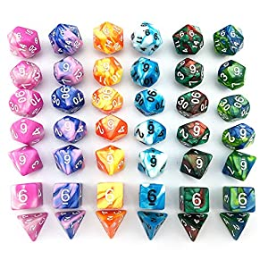 SmartDealsPro 6 x 7 Sets(42 Pieces) Two Colors D4 D6 D8 D10 D12 D20 Polyhedral Dice for Dungeons and Dragons DND RPG MTG Table Games with Free Pouches