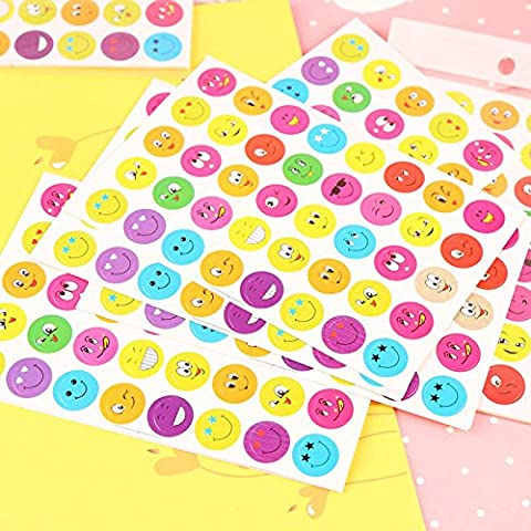 Toonol 10 Pcs / Pack Cartoon cute Smile Face Emoji Sticker Teacher Reward Multicolor Smiley Stickers for Kids Children Boys (Scratch And Sniff Stickers Bulk)