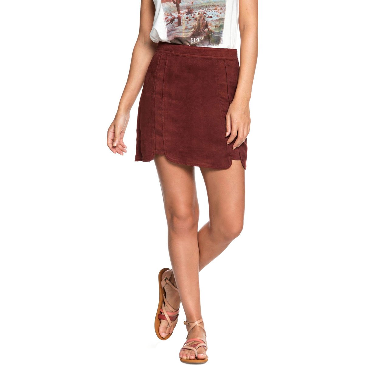 Roxy Women's The Cactus Chronicle Faux Suede Skirt,Large,Andora