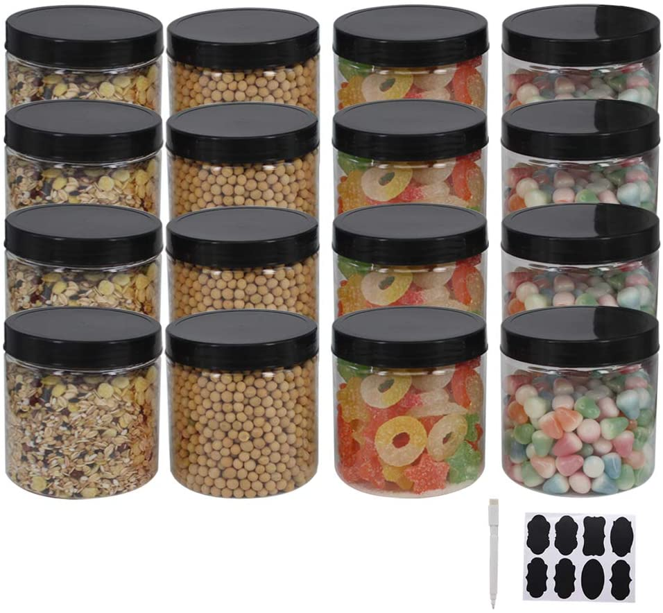12 Pack 16 oz Plastic Jars With Lids, Extra Labels, 1 Pen, Clear PET Seal Jar for Food Storage,Wide Opening Storage jar For Dry Food, Peanut, Powder, Kitchen & Craft Storage by ZMYBCPACK